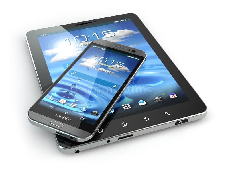 приборы передвижные ПК Smartphone и таблетки на белом backg иллюстрация штока