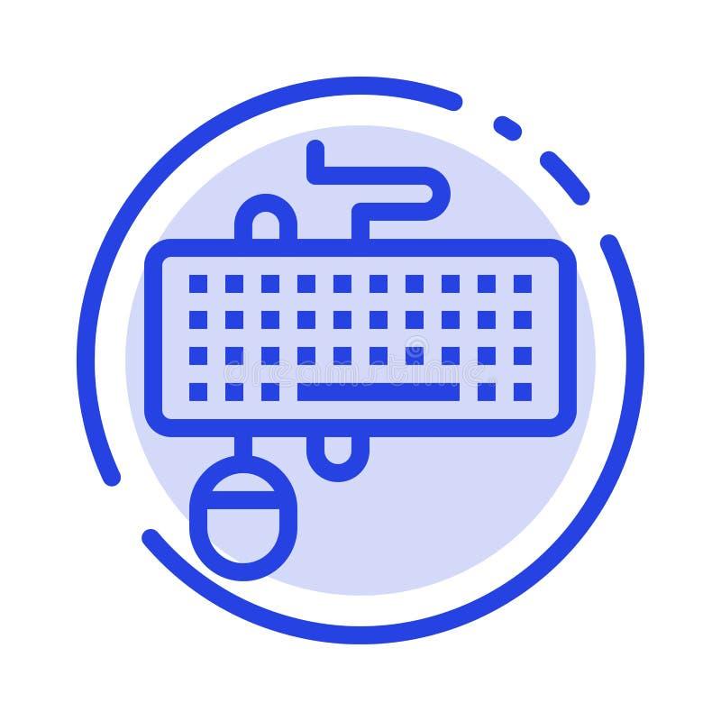 Прибор, интерфейс, клавиатура, мышь, устарелая линия значок голубой пунктирной линии иллюстрация штока