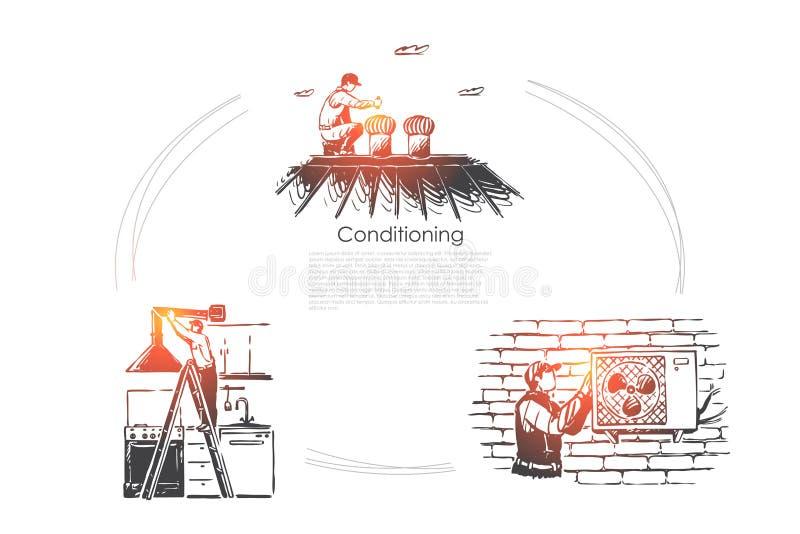 Прибор контроля климата, проводник отладки ремонтника, шаблон знамени охлаждая оборудования иллюстрация штока