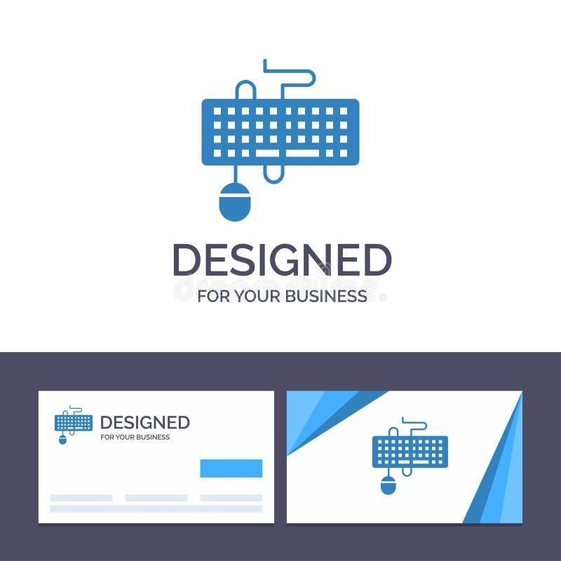 Прибор творческого шаблона визитной карточки и логотипа, интерфейс, клавиатура, мышь, устарелая иллюстрация вектора бесплатная иллюстрация