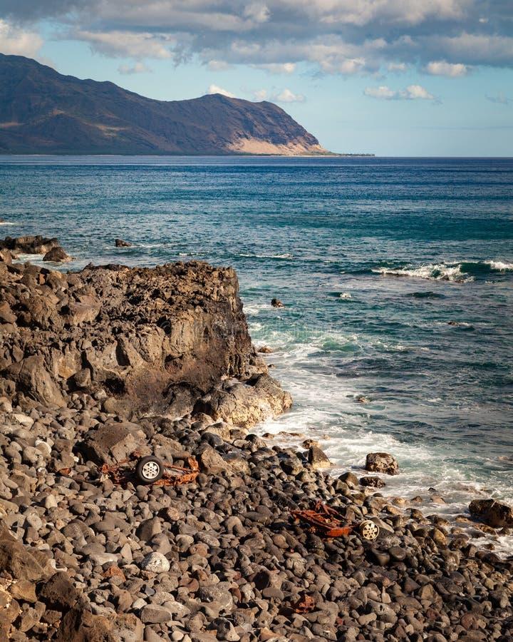 Прибрежная автомобильная катастрофа Seascape стоковые изображения