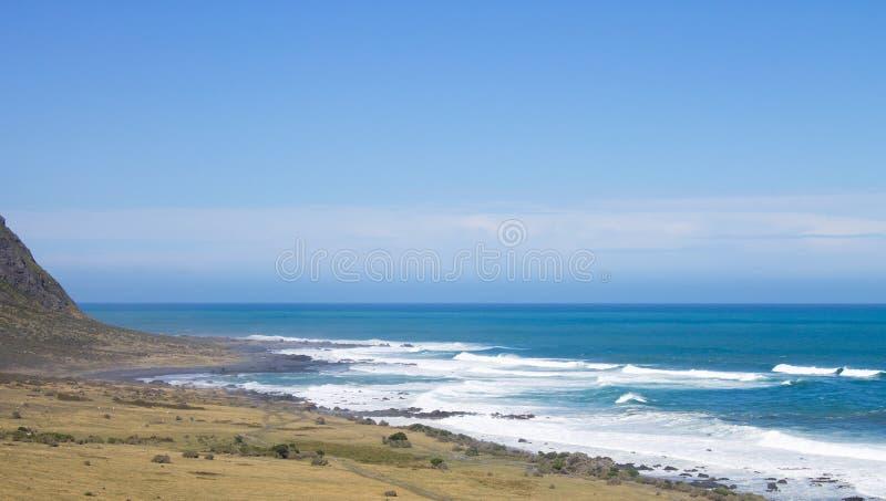Прибрежная Новая Зеландия вдоль накидки Palliser, стоковое фото
