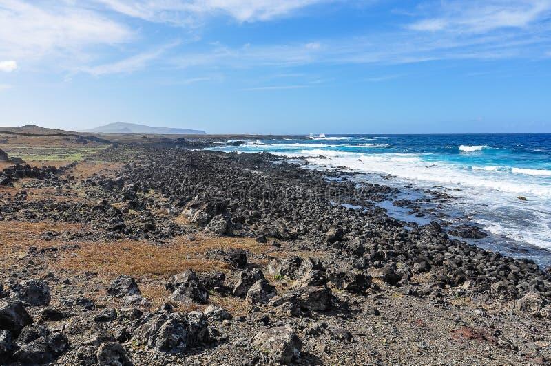 Прибрежный ландшафт в острове пасхи, Чили стоковые изображения