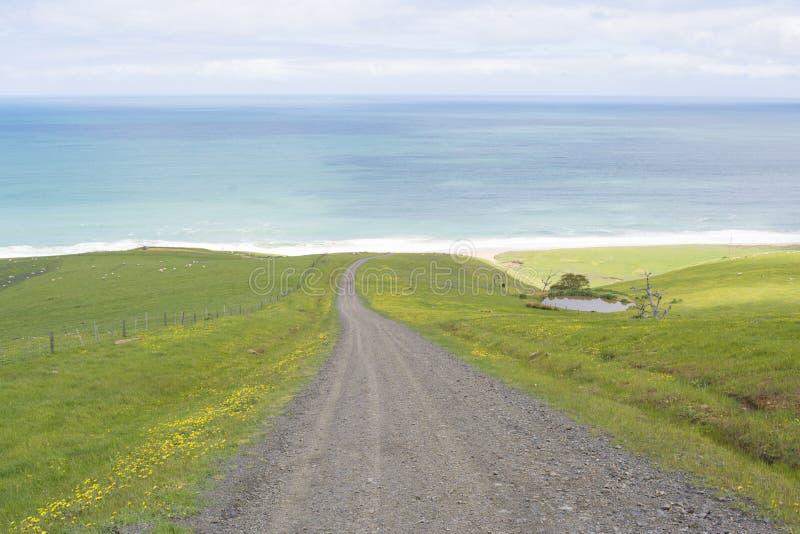 Прибрежный взгляд, дорога к пляжу Tunkalilla, полуострову Fleurieu, SA стоковые изображения