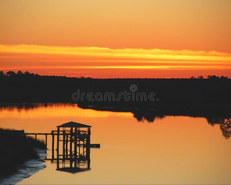 прибрежный заход солнца стоковое изображение