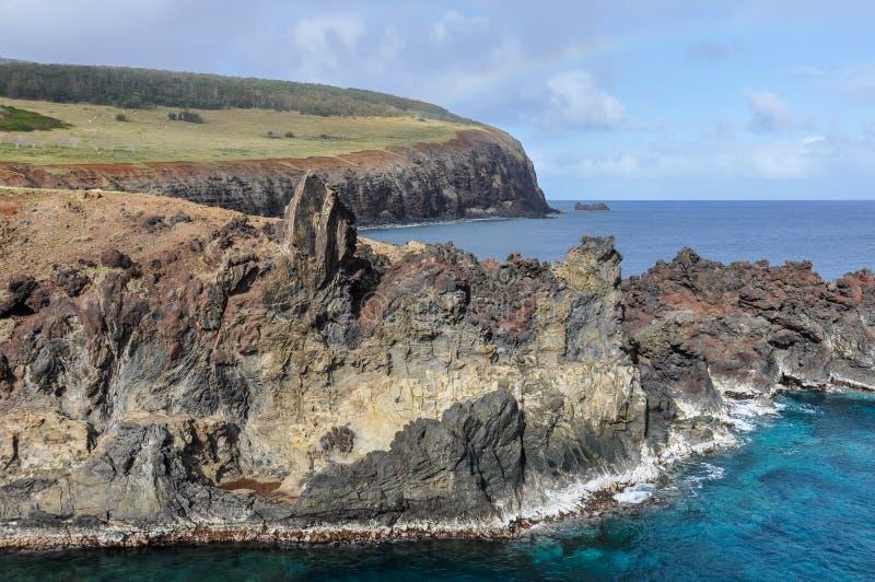 Прибрежный пейзаж на острове пасхи, Чили стоковое фото rf