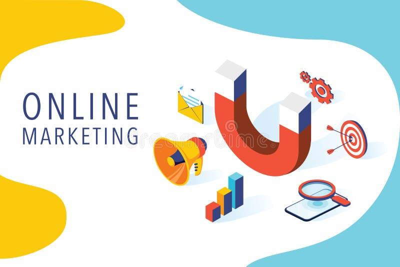Прибывающая иллюстрация дела вектора маркетинга в равновеликом дизайне Предпосылка онлайн или разрешения маркетинга иллюстрация вектора