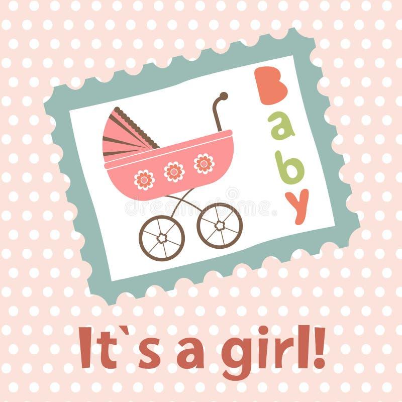 прибытие объявления как шаблон девушки карточки младенца совершенный бесплатная иллюстрация