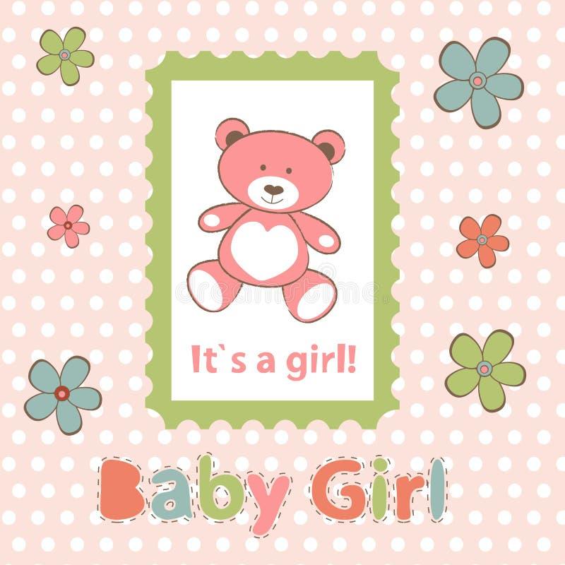 прибытие объявления как шаблон девушки карточки младенца совершенный иллюстрация вектора
