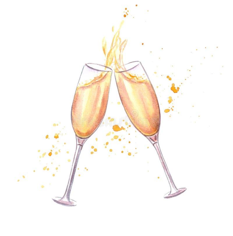 Приветственные восклицания! Пары стекел шампанского иллюстрация вектора