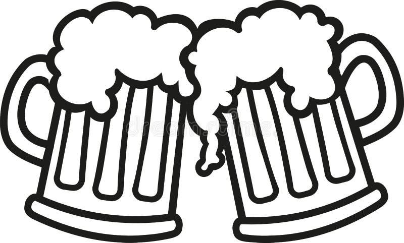 Приветственные восклицания шаржа кружек пива бесплатная иллюстрация