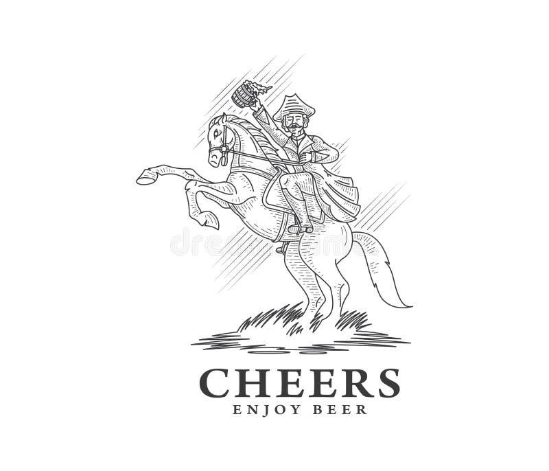 Приветственные восклицания и наслаждаются пивом черным по белому иллюстрация вектора