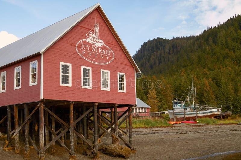 Приветственный центр в ледистом пункте Hoonah Аляске пролива стоковое изображение rf