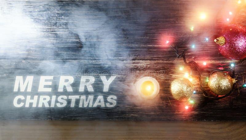 Приветствие веселого рождества с красочным светом рождества, шариками иллюстрация штока