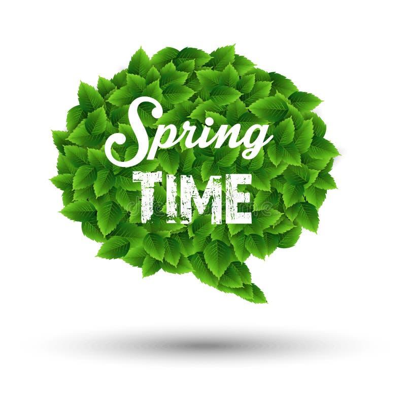 Приветствие весеннего времени в пузыре речи зеленых листьев бесплатная иллюстрация