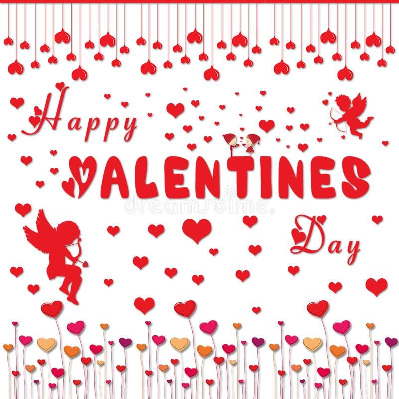 Приветствие дня валентинок с красным акцентом и poping сердцем иллюстрация штока