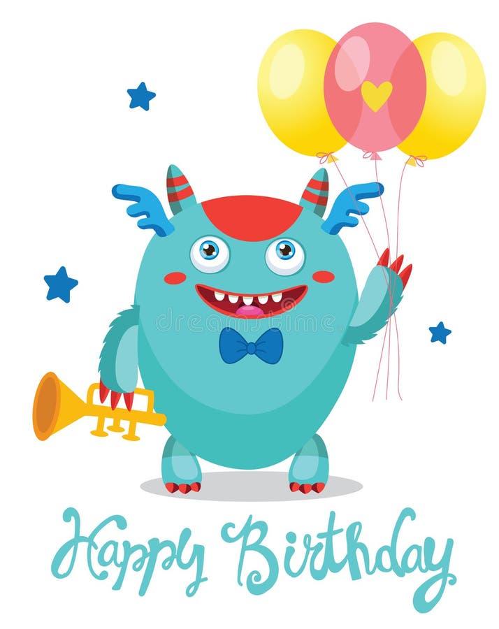 приветствие карточки смешное Тема дня рождения Университет извергов Милый изверг с воздушными шарами цвета иллюстрация штока