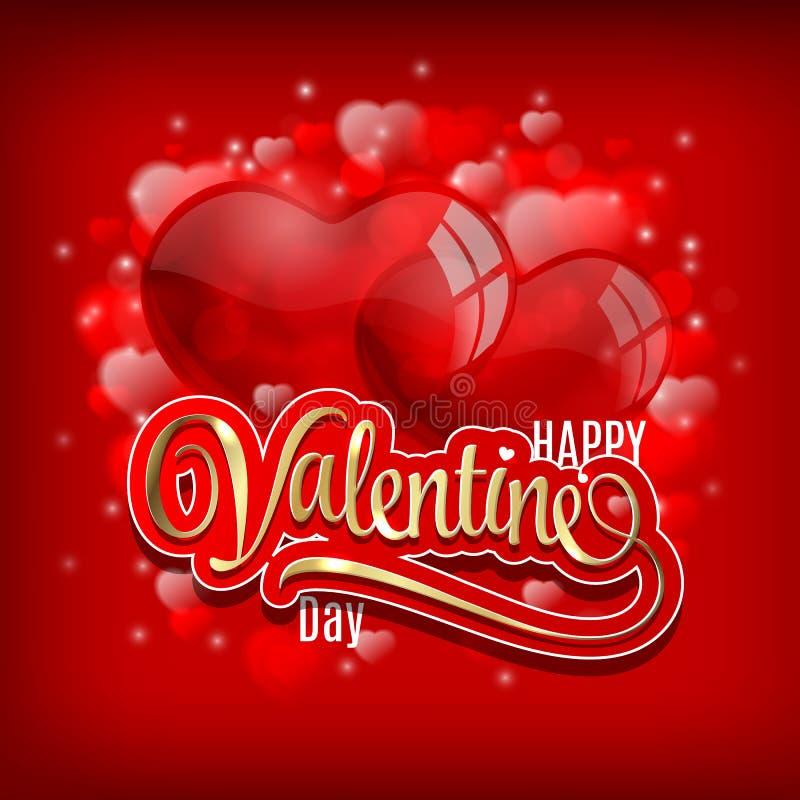 Приветствие дня валентинок с baloons сердца и золотая литерность на красной сияющей предпосылке vector иллюстрация иллюстрация штока
