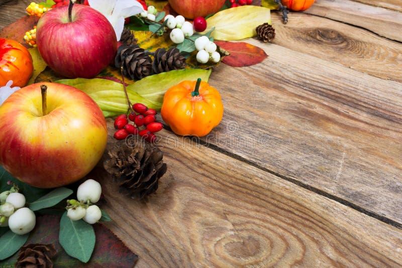Приветствие падения с листьями и белыми ягодами на старых деревянных животиках стоковое фото rf