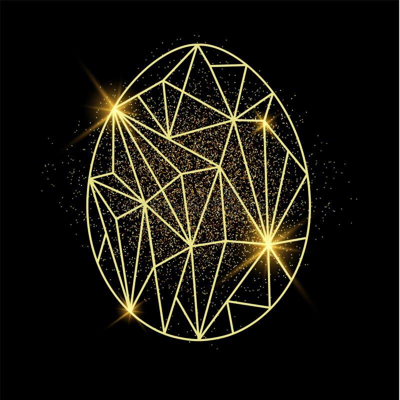 приветствие пасхального яйца карточки Egg форма в низком поли стиле с золотым песком позади бесплатная иллюстрация