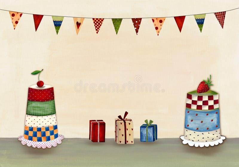 приветствие поздравительой открытки ко дню рождения иллюстрация штока