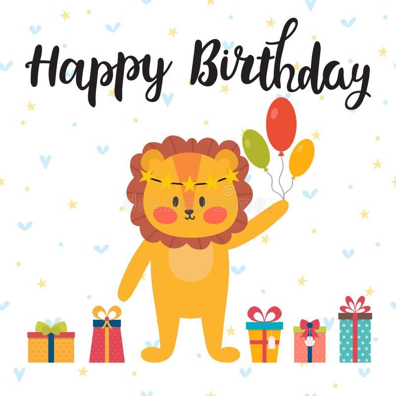 приветствие поздравительой открытки ко дню рождения счастливое Милая открытка с смешным маленьким львом бесплатная иллюстрация
