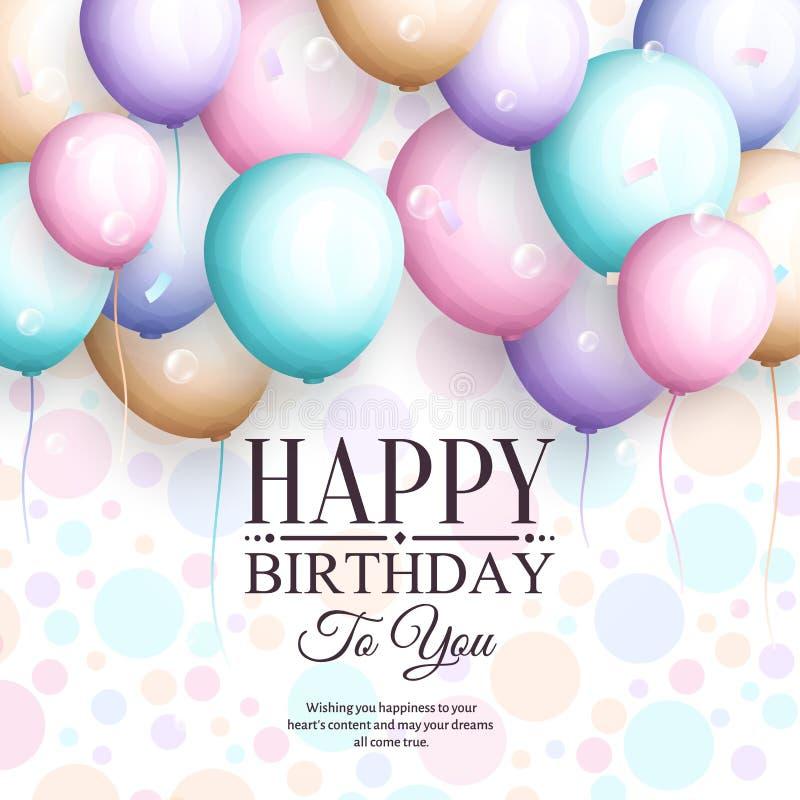 приветствие поздравительой открытки ко дню рождения счастливое Ретро винтажные пастельные воздушные шары партии, ленты, и стильна бесплатная иллюстрация