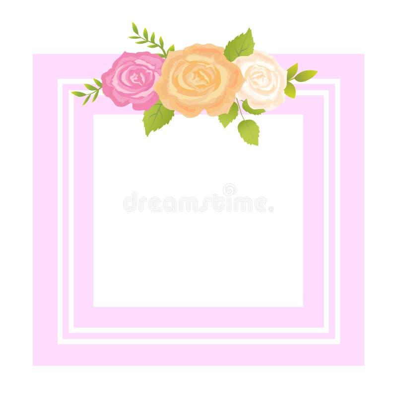 Приветствие рамки фото цветка розового пинка оранжевое бежевое иллюстрация штока
