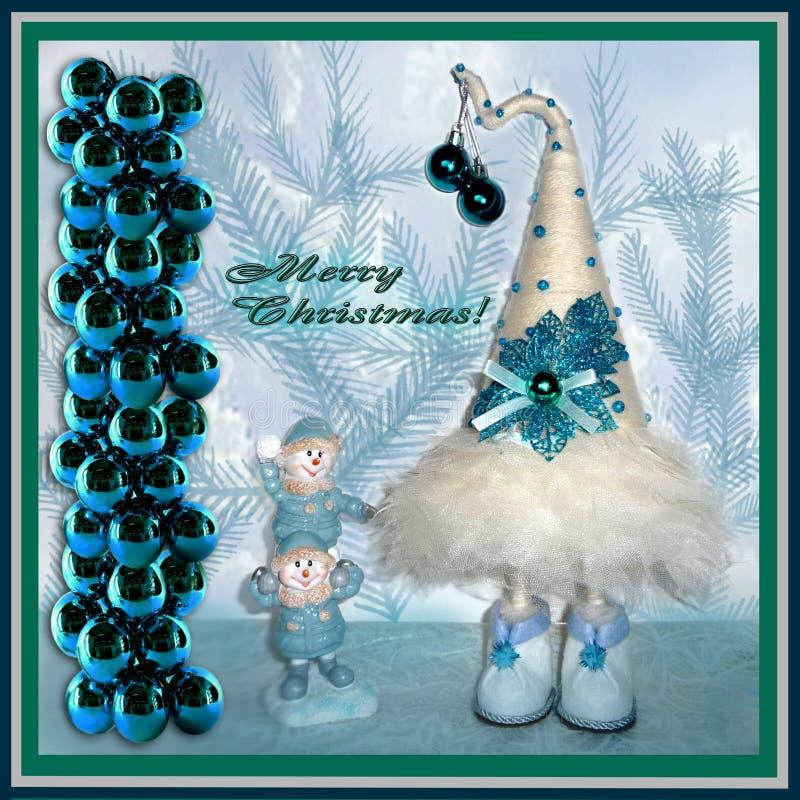 приветствие рождества карточки Белая рождественская елка с голубыми украшениями, штендер зеленых шариков, пара спортсменов снегов иллюстрация штока