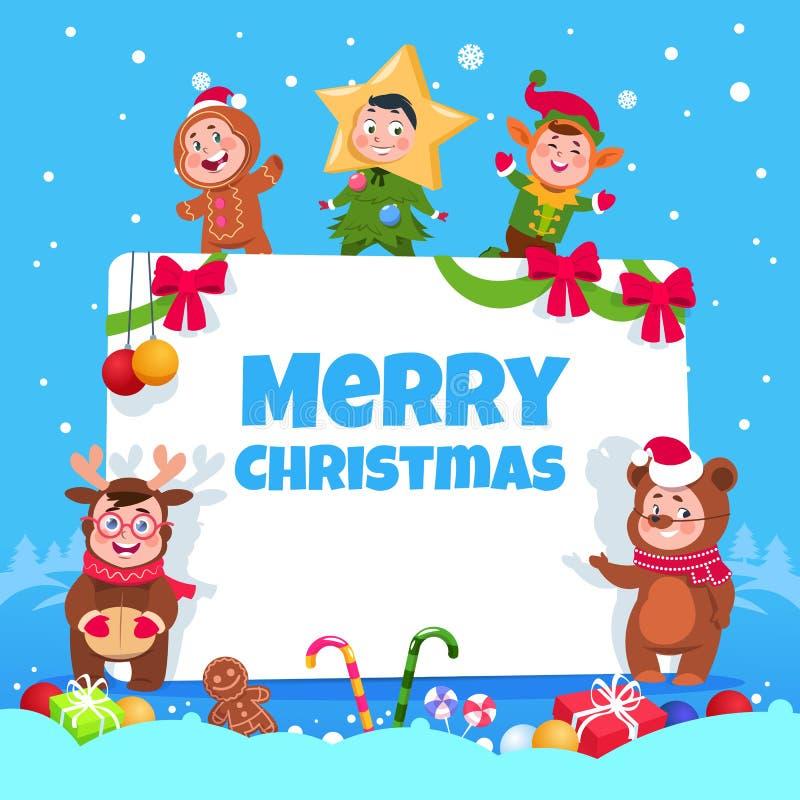 приветствие рождества карточки веселое Дети в рождестве костюмируют танцы на партии зимнего отдыха детей Плакат вектора иллюстрация вектора