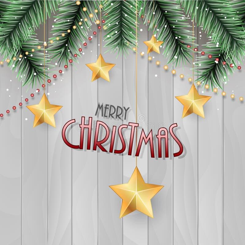 приветствие рождества карточки веселое Зеленые ветви, цепь, золотые звезды и деревянная предпосылка иллюстрация штока