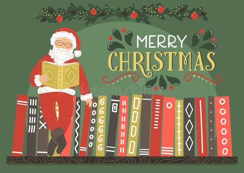 приветствие рождества карточки веселое Книга чтения Санта Клауса иллюстрация вектора