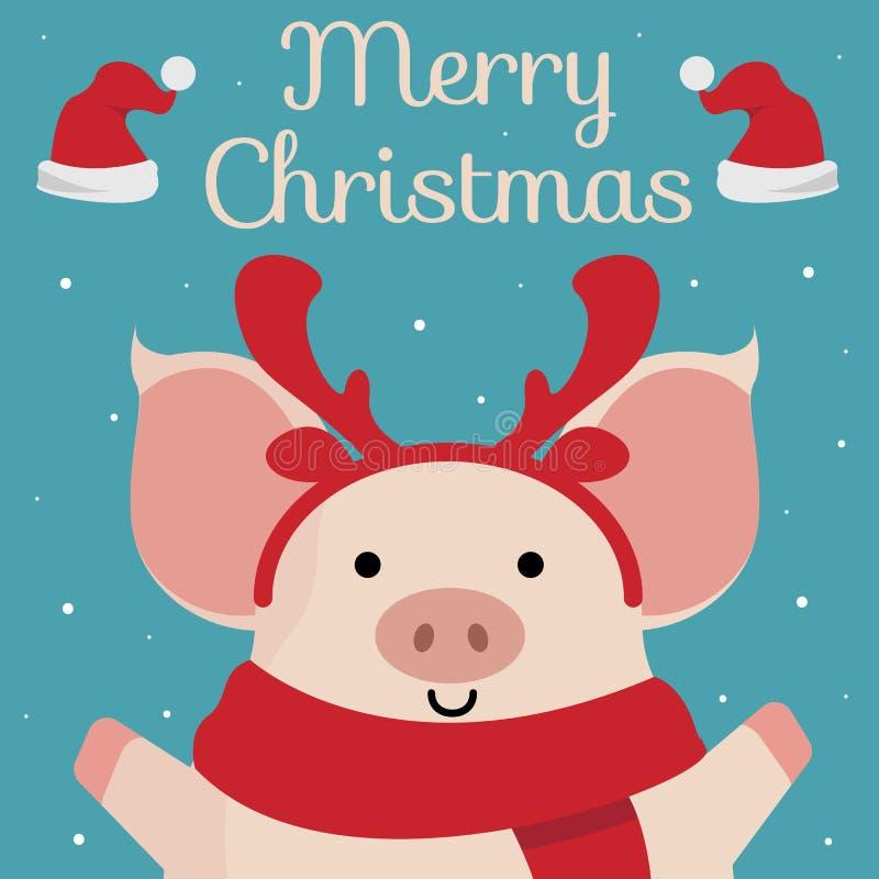 приветствие рождества карточки веселое Милый мультфильм piggy на голубой предпосылке иллюстрация вектора