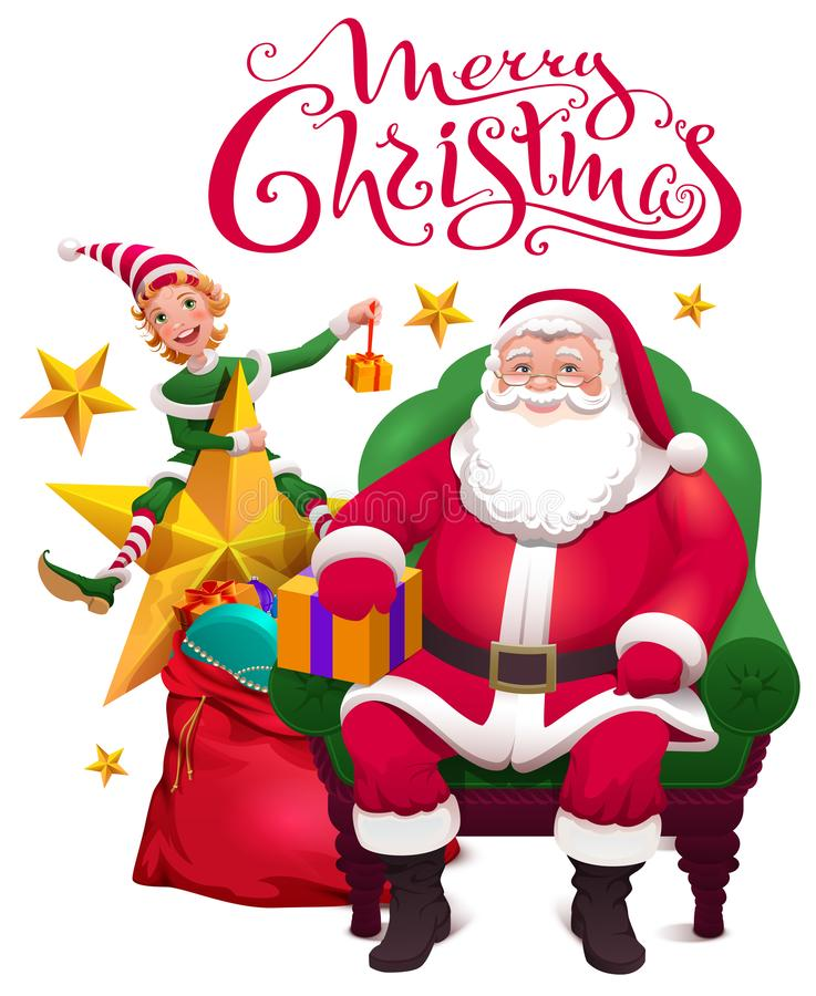 приветствие рождества карточки веселое Санта Клаус сидит в стуле, ассистентском эльфе и открытой сумке с подарками иллюстрация вектора