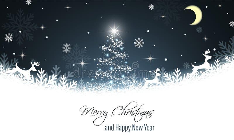 приветствие рождества карточки новый год желаний Северный олень, снежинки, снег, сияющая рождественская елка, звезды и луна векто иллюстрация штока