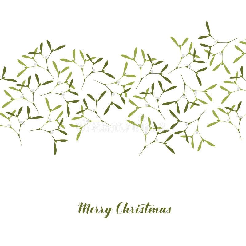 приветствие рождества карточки Омела на белой предпосылке иллюстрация вектора