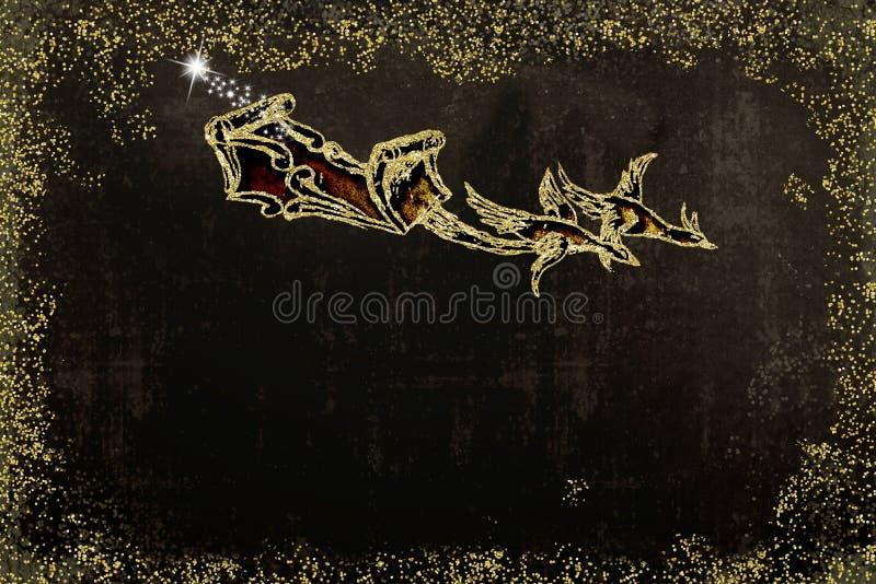 приветствие рождества карточки Сани Санта Клауса бесплатная иллюстрация