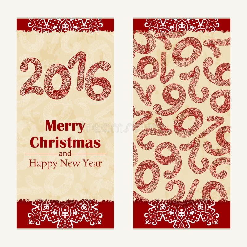 приветствие рождества карточки веселое Абстрактная счастливая предпосылка 2016 Нового Года Надпись нарисованная рукой также векто бесплатная иллюстрация