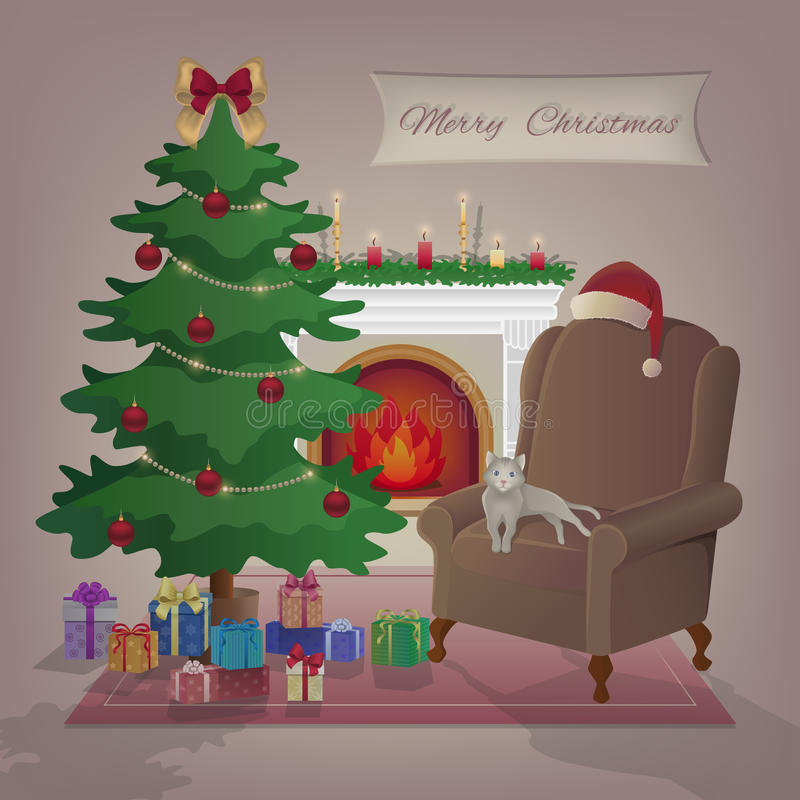 приветствие рождества карточки веселое Уютный домашний интерьер с горящим камином, креслом, котом, рождественской елкой, подаркам иллюстрация вектора