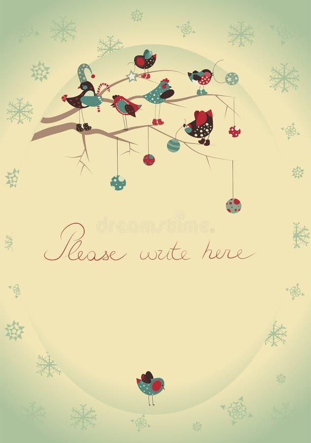 приветствие рождества карточки птиц иллюстрация вектора