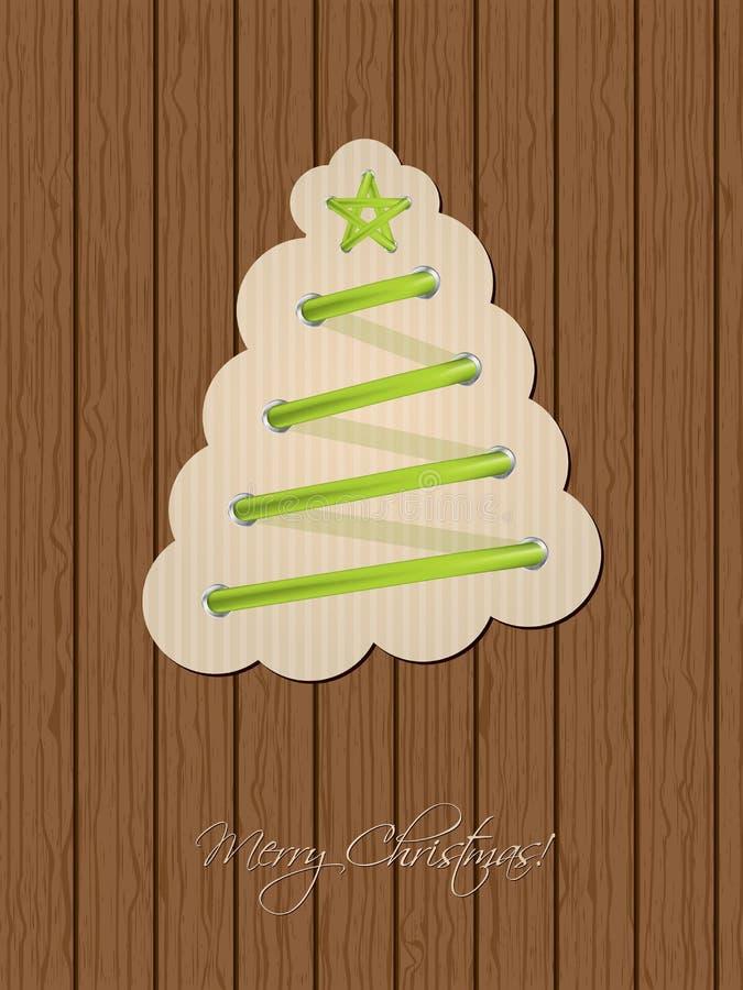 Приветствие рождества с деревом шнурка ботинка и деревянной предпосылкой иллюстрация штока