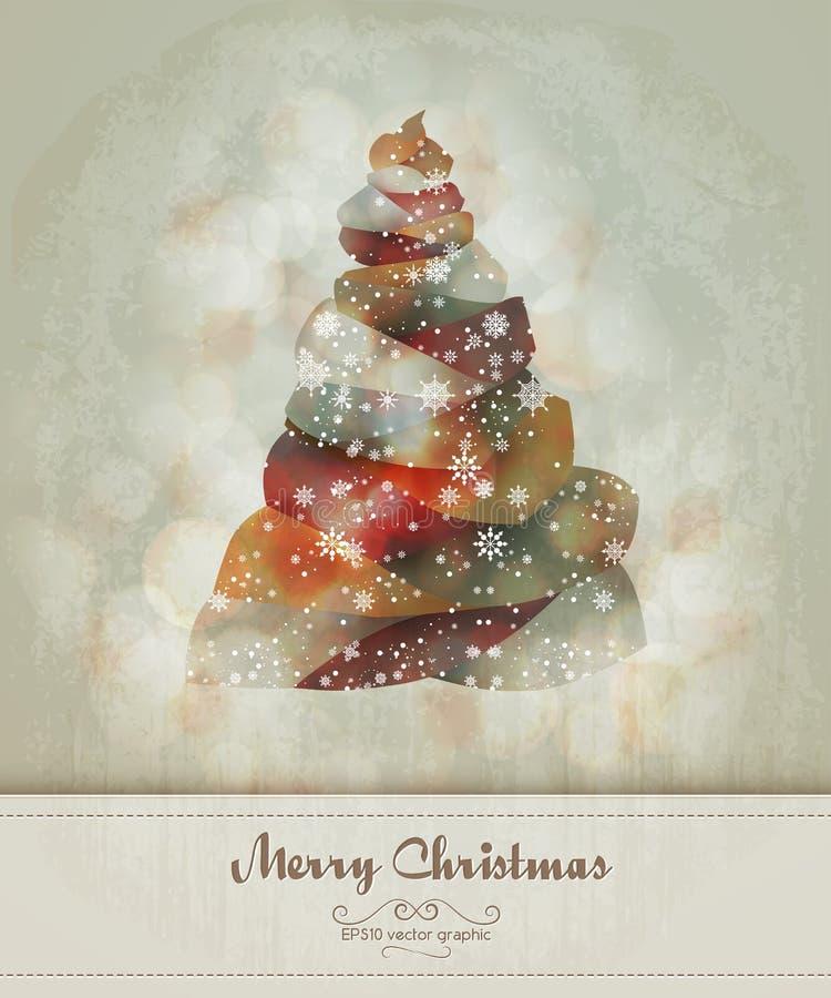 Приветствие сбора винограда с абстрактной рождественской елкой иллюстрация штока