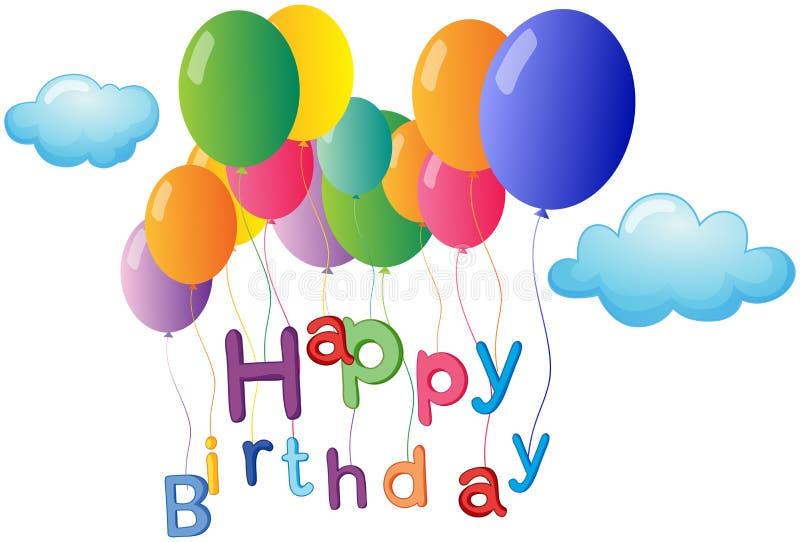Приветствие с днем рождений с цветастыми воздушными шарами иллюстрация вектора