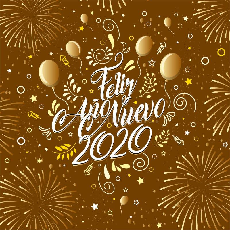 Приветствие с сообщением: Фелиз Ано Нуэво 2020 - С Новым Годом 2020 на испанском языке - Карта, украшенная шариками, иллюстрация вектора