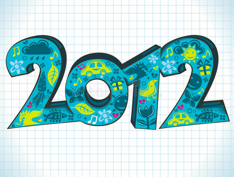 приветствие 2012 карточек иллюстрация вектора