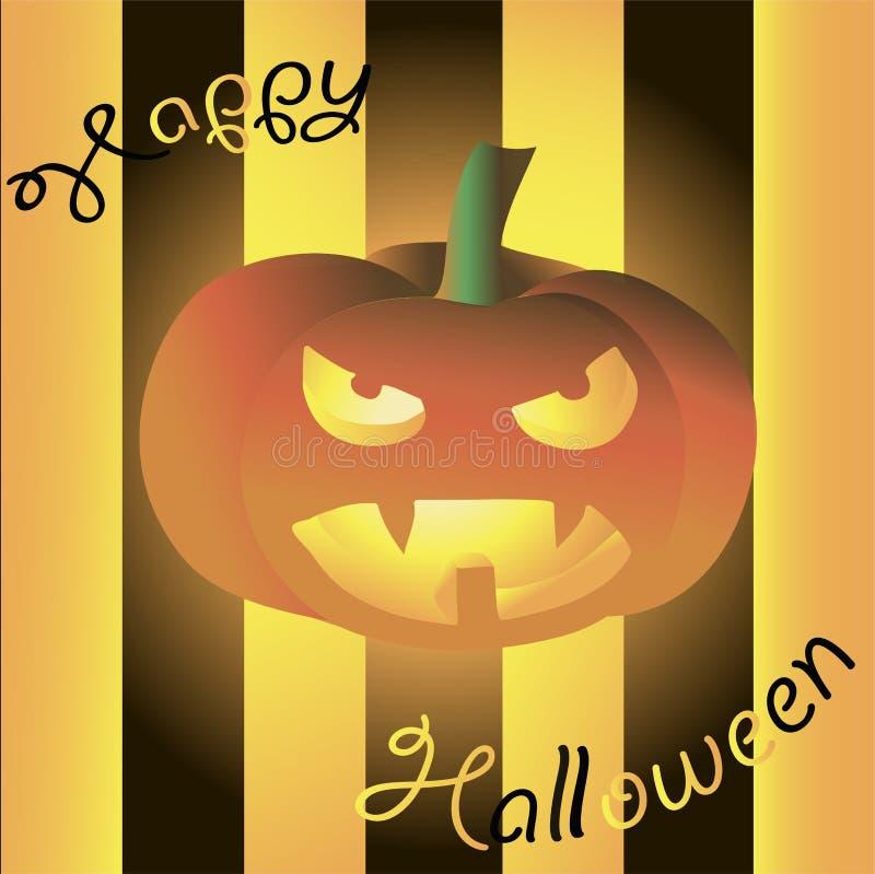 приветствие halloween карточки счастливый Накаляя страшная тыква на черной предпосылке бесплатная иллюстрация