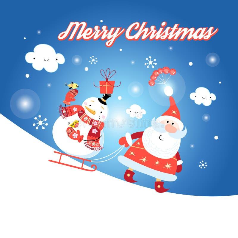 приветствие santa claus карточки иллюстрация штока