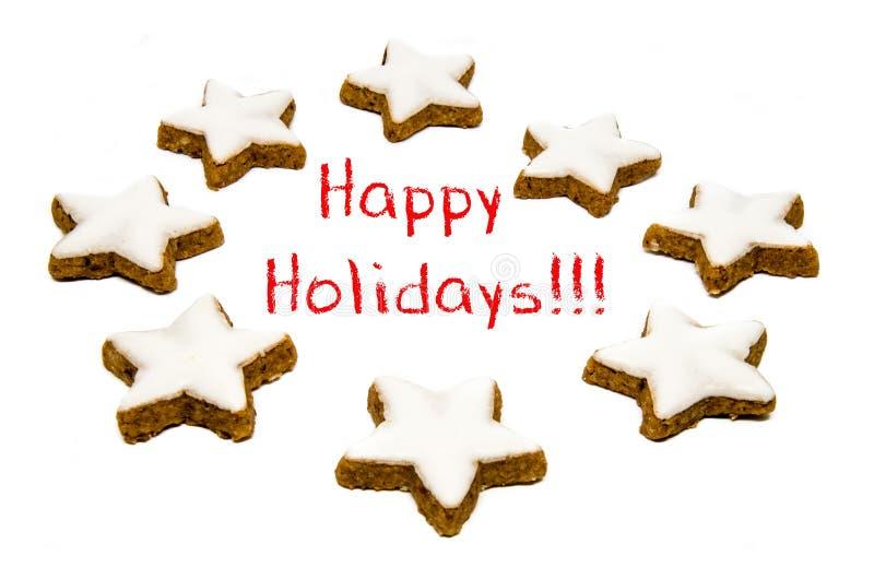 Приветствия праздника - печенья и текст стоковое изображение rf