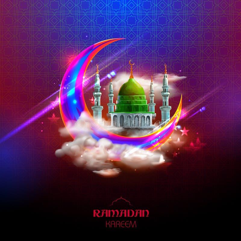 Приветствия Рамазана Kareem великодушные Рамазана в арабском freehand с мечетью иллюстрация вектора