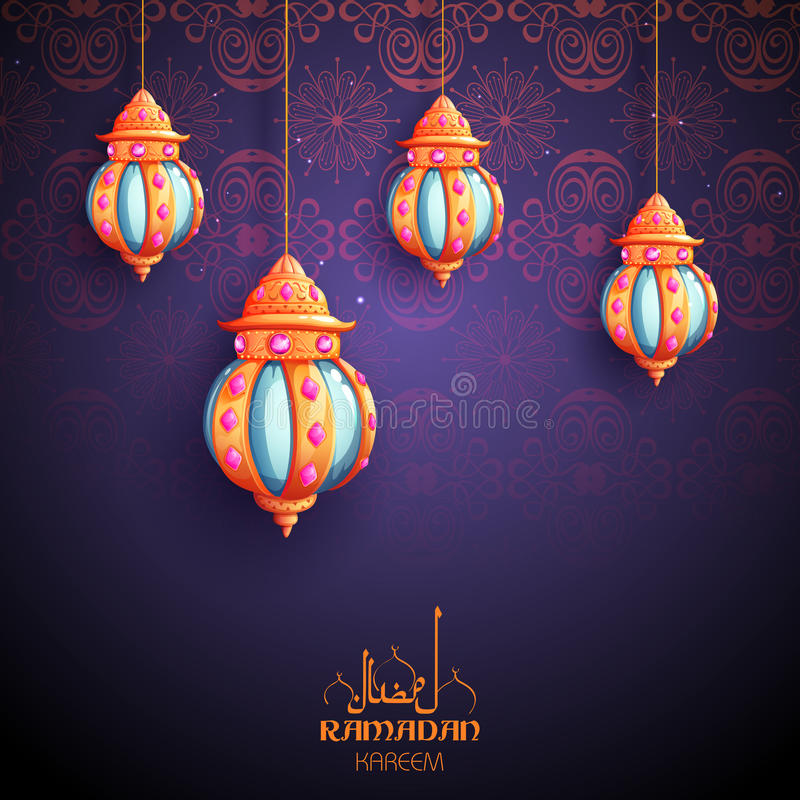 Приветствия Рамазана Kareem великодушные Рамазана для религиозного праздника Eid ислама с загоренной лампой бесплатная иллюстрация